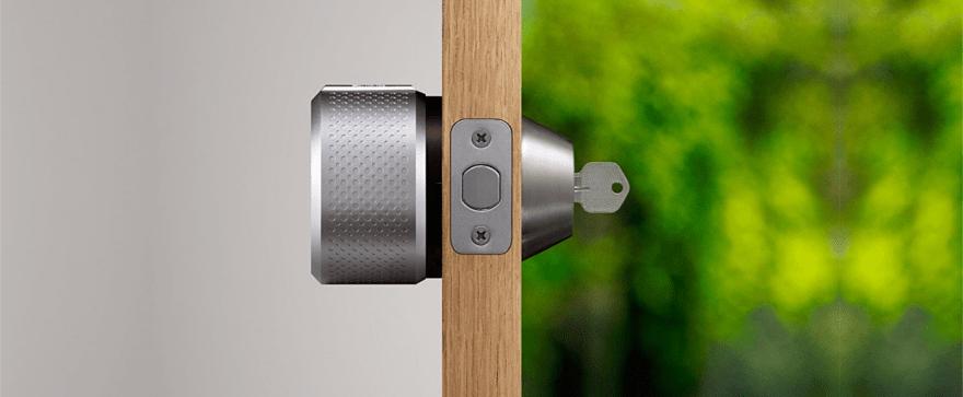 August Smart Lock on a door