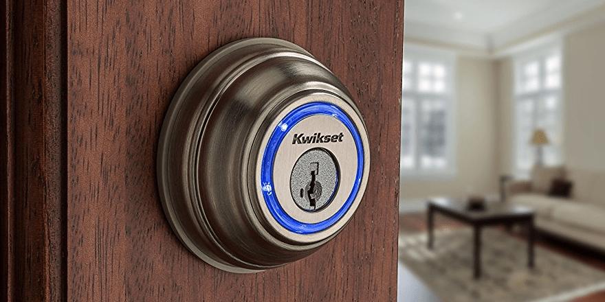 Kwikset Kevo Smart Lock on a door close up
